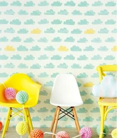 Casadeco wallpaper with clouds Nuages (blue) Casadeco Wallpaper, Kids Room Wallpaper, Colorful Wallpaper, Wallpaper Ideas, Children Wallpaper, Bedroom Wallpaper, White Wallpaper, Inspiration For Kids, Nursery Inspiration