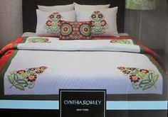 CYNTHIA ROWLEY KING  EMBROIDERED FLORAL QUILT & SHAMS