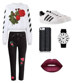 """Rose in my life"" by marutza28 ❤ liked on Polyvore featuring Off-White, adidas, Lime Crime, Rosendahl and Savannah Hayes"
