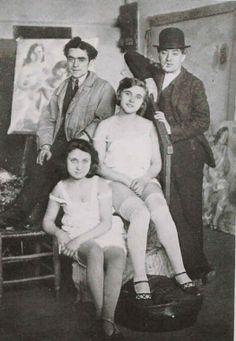 Jules Pascin ( à droite ) Pierre Marseille et deux jeunes modèles vers1920 -1922 © Coll. Part. © ADAGP