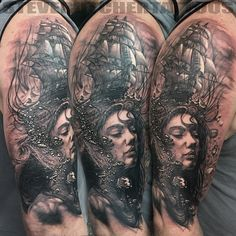 A detailed black and grey tattoo piece by artist Steve Butcher. | Intenze ink