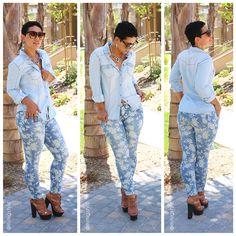 Floral Jeans + Denim Shirt - #MimiGStyle