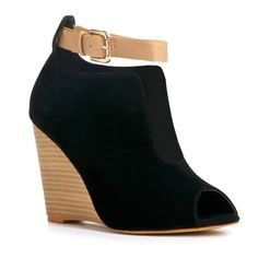 interesting open front bootie style peep-toe wedges with an ankle cuff | Just Fab