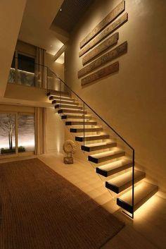 Stairways Lighting Ideas, Led Light Strips On Stairway #DiyHomeDecor #DreamHouse #livingroomideas #stairways #stair #stairs