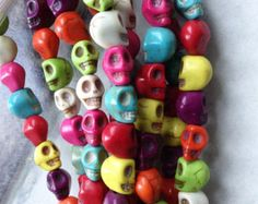 16 mini SKULL beads 7mm colourful Mexican Dia de Los Muertos trinkets