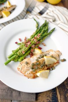 Pan fried cod with pesto bacon asparagus