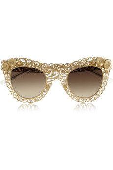 6fb7a76ea59 Cat eye filigree gold-tone sunglasses by  Dolce  amp  Gabbana Clear  Sunglasses