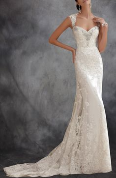 Capped Sleeves Open Back Lace Wedding Dress With Beading Detail