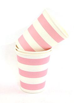Pink & White striped cups