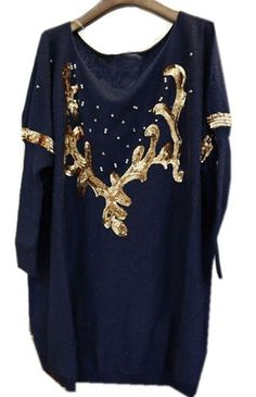 Blue Long Sleeve Moose Embroidery Sequined Sweater