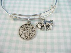 Taurus Zodiac Charm Silver Bangle Bracelet Alex by DesignsBySuzze