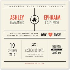 I really like this invitation. I think it's modern and feels like an infographic, but is still classy enough, but I would change a few things. I think I could design something like that though.