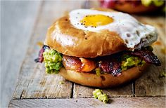 Egg In A Hole With Bacon Recipe - bagel, avocados, cherry tomatoes, bacon, eggs, maple syrup, chipotle paste