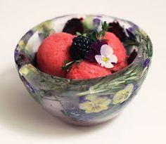 Flower ice bowl frozen
