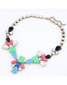 Fluorescence Color Gems Jointed Flower with Rhinestone Inlaid Short Necklace