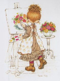 Sarah Kay by roslyn Holly Hobbie Sarah Key, Holly Hobbie, Mary May, Decoupage, Australian Artists, Cute Illustration, Vintage Pictures, Vintage Children, Cute Drawings