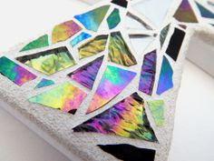 "Mosaic Wall Cross Iridescent + Textured Glass + Silver Mirror, Handmade Stained Glass Mosaic Design, 12"" x 8"" by GreenBananaMosaicCo, $45.00"