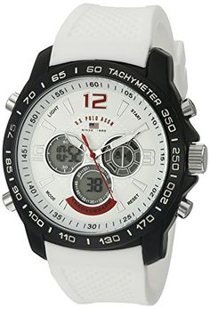 US Polo Assn Sport Mens Quartz Metal and Rubber Casual Watch ColorWhite Model US9556 * More info could be found at the image url.Note:It is affiliate link to Amazon.