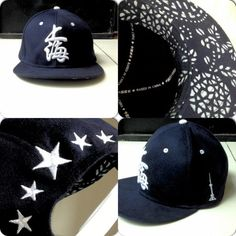 Navy & White with 蓝印花布 bottom Snapback