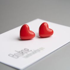 Red heart stud earrings / Valentine's day gift for her / by Brukne