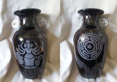Hecate vase black and copper glass hand etched OOAK by WhyteRavenStudio on Etsy