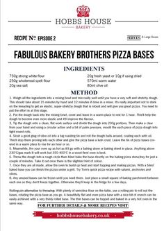 The Fabulous Baker Brothers: Pizza Bases - Hobbs House Bakery - Episode 2 Pizza Base Ingredients, Bakery Recipes, Cooking Recipes, Pizza And More, Great Recipes, Yummy Recipes, Bread Board, Bread And Pastries, Daily Bread