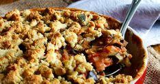 Crumble de Thym au poulet et légumes d'été, tomate, courgette, aubergine, oignon, ail, basilic, huile d'olive, plat complet , recette légère, recette légère de légumes, gratin de légumes, recette de gratin de légumes, poulet fermier,