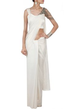 Ivory pleated sari available only at Pernia's Pop-Up Shop.