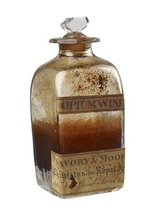 This bottle is taken from a medicine chest that belonged to the Duke of Kent. It was made by Savory and Moore, a firm of pharmacists in the West End. Thomas Paytherus established a pharmacy on Bond Street in 1794. He later took on Thomas Field Savory and Thomas Moore as partners in 1806 and sold them the business upon his retirement in 1811. Opium-based medicines were sold for a wide range of illnesses. Opium dissolved in wine was used as a sedative, an analgesic and for treating diarrhoea…