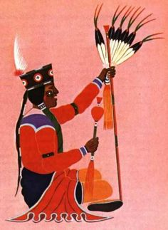 """Indian painting of Peyote """"roadman""""—leader of the Peyote ceremony.  (Original painting is by Stephen Mopope, Kickapoo Indian artist;  in collection of Harvard Botanical Museum.)"""
