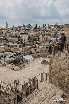 | Old City across to Christian Quarter from Ramparts Jerusalem Israel