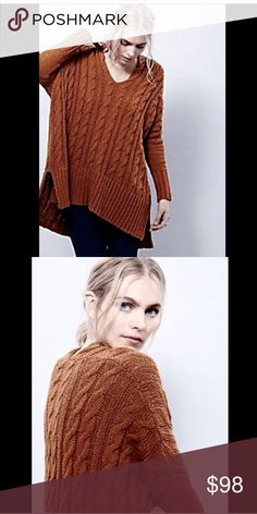 Selling this Free People rust Cable V Neck Pullover Sweater S on Poshmark! My username is: richbororiches. #shopmycloset #poshmark #fashion #shopping #style #forsale #Free People #Sweaters