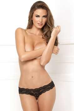 Rene Rofe Sexy Crotchless Floral Lace Thong 1105