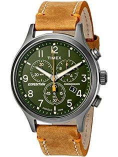 Timex Men's TW4B044009J Expedition Scout Chrono Tan/Green Leather Strap Watch ❤ Timex Corporation