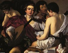 The Musicians, Oil On Canvas by Caravaggio (Michelangelo Merisi) (1571-1610, Italy) #musicians #caravaggio #picture