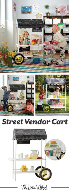 Whether you're in the market for flower cart or a kid-sized lemonade stand, our Street Vendor Cart has something for you. It features four interchangeable signs that are all double-sided, including a blank one that kids can write in whatever they want.