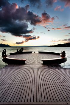 curved deck & benches at Montreux, Swizerland...