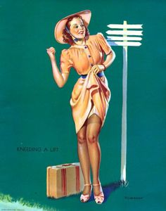 Vintage Pin-up Poster of Gil Elvgren Gallery 7 | KNEE DING A LIFT