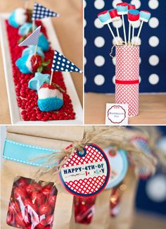 Patriotic Party Ideas ~ Chocolate Covered Marshmallows in the red and aqua and white colors and dipped partly in sanding sugar of the opposite color are put in double stacked SOUP cans that are wrapped with printable patterned paper and embellished with ribbon