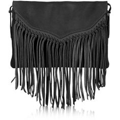 TOPSHOP Leather Tassel Crossbody Bag (105 AUD) ❤ liked on Polyvore featuring bags, handbags, shoulder bags, black, black purse, black fringe purse, black leather shoulder bag, black leather handbags and crossbody purse
