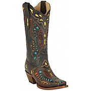 Corral vintage boot with multicolored butterfly inlay.