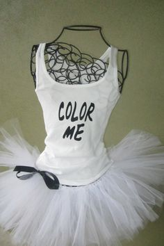 Running Tutu: Color Run Inspired Custom Racing Tank and Pixie Length inch) Tutu on Etsy, yay! I need this for the color run May in St Paul😃 ~look no further! Color Run Outfit, 5k Color Run, Color Race, Running Tutu, Running Costumes, Running Race, Running Club, Boot Camp, Zumba