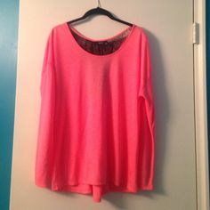 ✨Deal of the Day✨ Lace back coral top ✨Deal of the Day✨ Long sleeve coral tee with black lace detail on the back with a gather at the waist and flares out on the bottom. Drop shoulder. Barely worn. *Price firm, no bundling or coupons* a.n.a Tops Tees - Long Sleeve