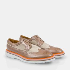 Paul Smith Women's Shoes | Taupe Parma Leather And Linen Grand Brogues
