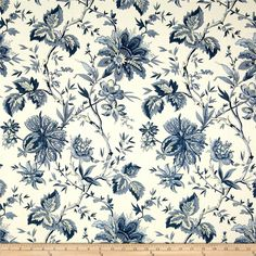 Waverly Felicite Indigo from @fabricdotcom  Screen printed on cotton; this versatile lightweight fabric is perfect for window accents (draperies, valances, curtains and swags), accent pillows, duvet covers and upholstery. Create handbags, tote bags, aprons and more. Colors include shades of blue and ivory.