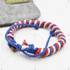 Stylish Weaving Red White and Blue PU Bracelet ($2.55) ❤ liked on Polyvore featuring jewelry and bracelets