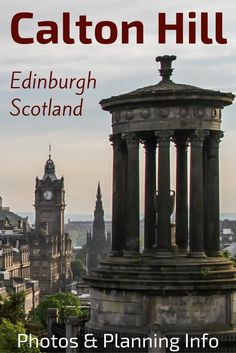Calton Hill Edinburgh Scotland offers some of the best views over the whole city including the old town and the Edinburgh castle. It is home to many monument of Greek inspiration including the National Monument and the Royal Observatory. Photos and info t