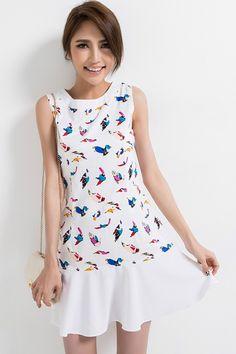 Bird Graphic Flouncing Hem Dress - OASAP.com