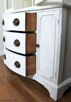 Goodwill antique china cabinet makeover with Chalk Paint and shiplap for a fresh farmhouse look - DIY tutorial by Girl in the Garage Chalk Paint Dresser, Chalk Paint Furniture, Cabinet Furniture, Furniture Projects, Furniture Makeover, Diy Furniture, Dresser Makeovers, Furniture Design, White China Cabinets