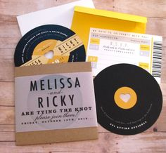 Music Lovers - Retro Record Wedding Invitation